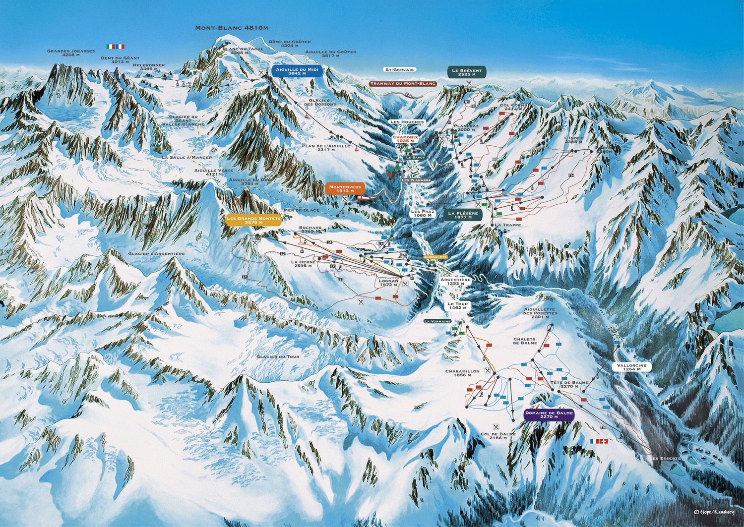Chamonix piste map All Mountain Performance