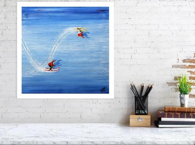 Skiing art prints